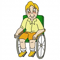 Boy in Wheelchair embroidery design