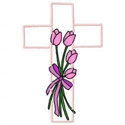Cross Tulips embroidery design