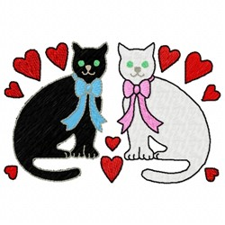 Cat Hearts embroidery design