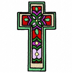 Stained Glass Cross embroidery design
