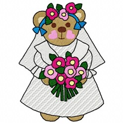 Bride Bear embroidery design