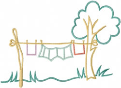 Clothes Line Outline embroidery design