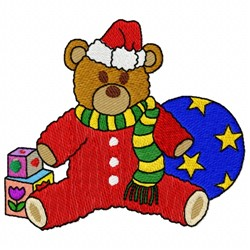 Santa Teddy embroidery design