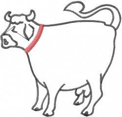 Cow Outline embroidery design