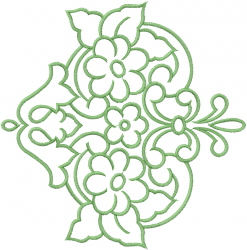 Flower Swirl Outline embroidery design