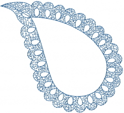 Scalloped Paisley Outline embroidery design
