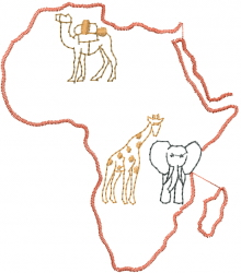 Africa Outline embroidery design
