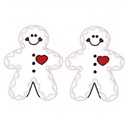 Two Gingerbread Men embroidery design