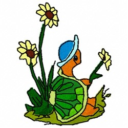 Turtle Flower embroidery design