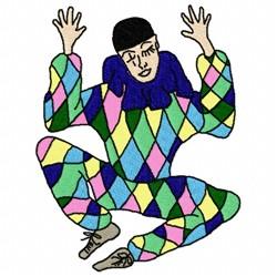 Harlequin Jester embroidery design
