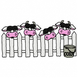 Cows At Fence embroidery design