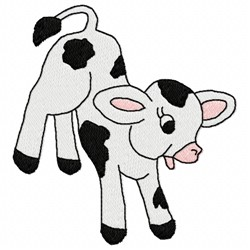 Happy Calf embroidery design