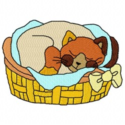 Cat In Basket embroidery design