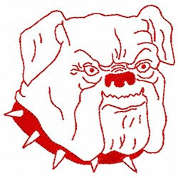 Bulldog Redwork embroidery design