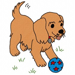 Puppy Ball embroidery design