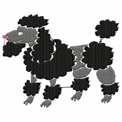Black Poodle embroidery design