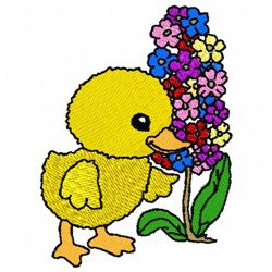 Flowery Duck embroidery design