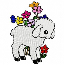 Lamb & Flowers embroidery design