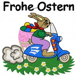 Ostern Scooter embroidery design