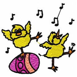 Dancing Chicks embroidery design