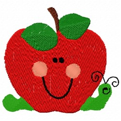 Smiling Apple embroidery design