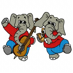Elephant Music embroidery design