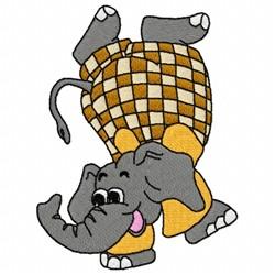 Acrobatic Elephant embroidery design