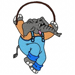 Elephant Jump Rope embroidery design