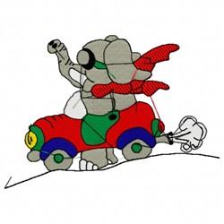 Elephant Car embroidery design