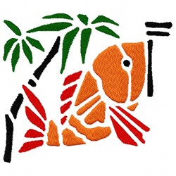 Fish And Palm Tree embroidery design