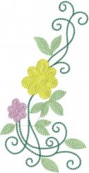 Swirl Vine Roses embroidery design