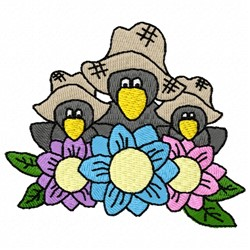 Crows Flowers embroidery design