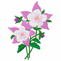 Aquilegia Flowers embroidery design