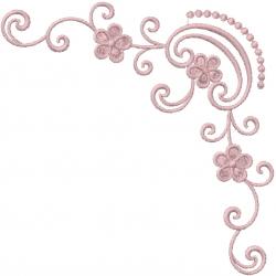 Swirl Flower Corner embroidery design