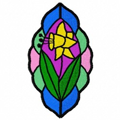 Stained Glass Daffodil embroidery design
