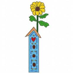 Sunflower Birdhouse embroidery design