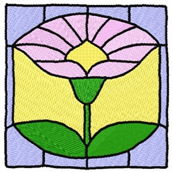 Stained Glass Flower embroidery design