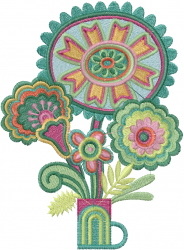 Artdeco Flower Bouquet embroidery design