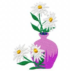 Daisies Vase embroidery design