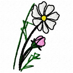 Cosmos Flower embroidery design