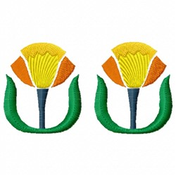 Twin Flowers embroidery design