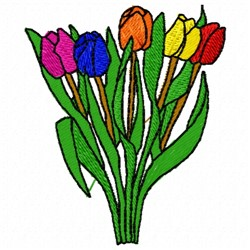 Tulips Bunch embroidery design
