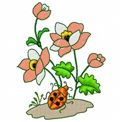 Flower and Ladybug embroidery design