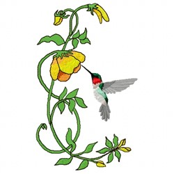 Hummingbird and Flower embroidery design