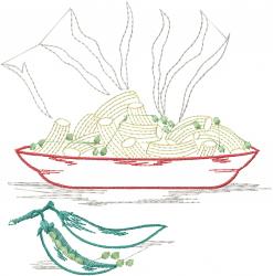 Pasta Dinner Outline embroidery design