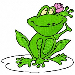 Frog With Flower embroidery design