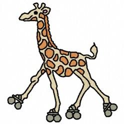 Giraffe On Skates embroidery design