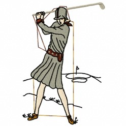 Golf Lady embroidery design