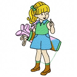 Girl Golfer embroidery design