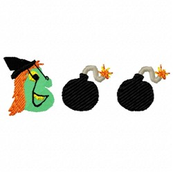 Cartoon Witch Head embroidery design